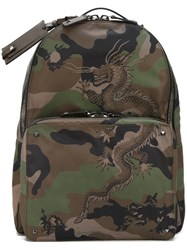 Valentino Chinese Dragon Camouflage Backpack Green