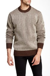 Obey Sloper Stripe Crew Neck Sweater Brown