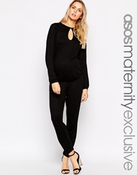 Asos Maternity Jumpsuit With Drape Back And Mesh Insert Black