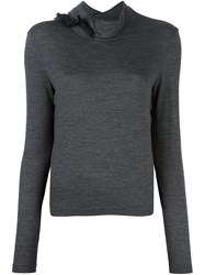 Kolor High Neck Detailing Pullover Grey