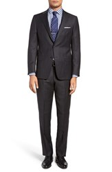 Hickey Freeman Men's Big And Tall Classic Fit Windowpane Wool And Silk Suit Charcoal