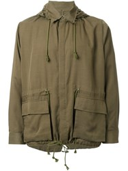 Christian Dada Patch Pocket Hooded Coat Green