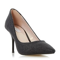 Untold Bekissed Glitter Mid Heel Court Shoes Black