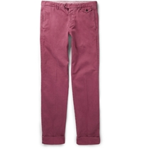 Michael Bastian Slim Fit Cotton Blend Trousers Purple