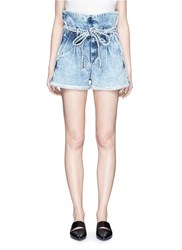 Tortoise Paperbag Waist Denim Shorts Blue