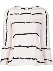 Derek Lam 10 Crosby Striped Bell Sleeve Blouse White