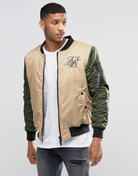 Sik Silk Siksilk Bomber Jacket With Contrast Sleeves Stone Khaki