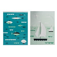 Magpie Ahoy Tea Towel Set Of 2 Sailboats And Fish