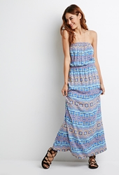 Forever 21 Strapless Tribal Print Maxi Dress Blue Multi