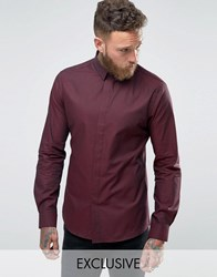 Noose And Monkey Skinny Shirt In Dogstooth Wine Red