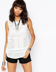 Brave Soul Vest With Embroidered Detail Ecru Cream