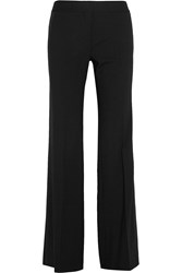 Dkny Satin Trimmed Stretch Wool Wide Leg Pants