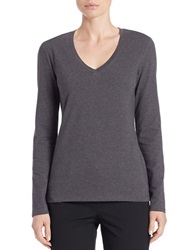 Lord And Taylor Plus Stretch Cotton V Neck Tee Graphite Heather