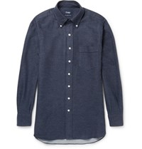 Drakes Drake's Button Down Collar Cotton Flannel Shirt Navy