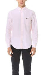 Lacoste Button Down Oxford Shirt Silk Pink White