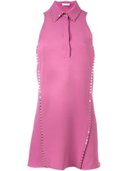 Versace Studded Accent Shirt Dress Pink And Purple