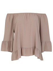 Izabel London Gypsy Style Feature Cuff Top Beige