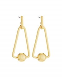 Rebecca Minkoff 12K Gold Plated Large Triangular Bead Drop Earrings