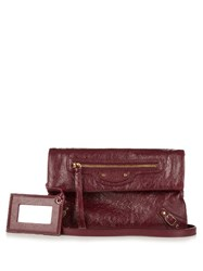 Balenciaga Classic Mini Envelope Leather Clutch Burgundy