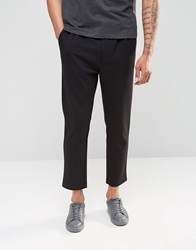 Weekday Astor Tailored Jersey Slim Trousers In Black Black 09 090