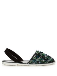 Del Rio London Woven Wool And Leather Sandals Green Multi