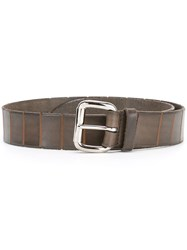 Orciani Textured Stripe Buckle Belt Brown