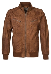 Tom Tailor Leather Jacket Tobacco Cognac