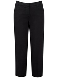 Pure Collection Kylie Laundered Linen Crop Trousers Black