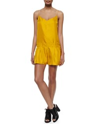 Rag And Bone Dropped Waist Solid Dune Short Romper Old Gold