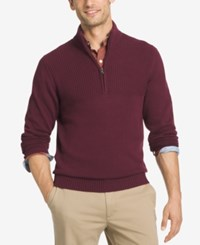 Izod Men's Dual Texture Quarter Zip Sweater Dark Red