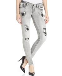 Miss Me Distressed Patched Skinny Jeans Light Grey Wash