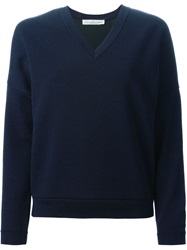 Golden Goose Deluxe Brand V Neck Sweatshirt Blue