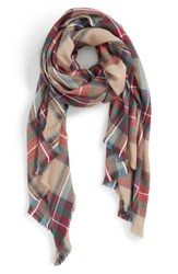 Women's Sole Society Plaid Blanket Scarf Beige Tan Multi