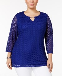 Jm Collection Plus Size Crocheted Split Neck Top Only At Macy's Deep Black