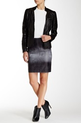 Muubaa Hiti Croc Leather Skirt Gray