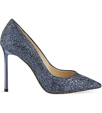 Jimmy Choo Romy 100 Crackled Glitter Courts Navy