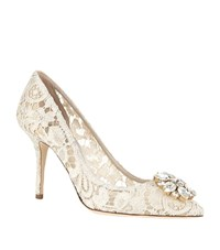 Dolce And Gabbana Bellucci Embellished Lace Pump Female White