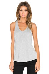 Heather Jersey And Rib Racer Tank Gray