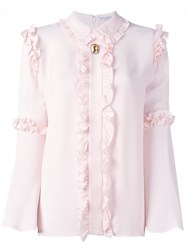 Vivetta Ruffle Detail Shirt Pink And Purple