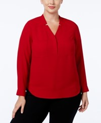 Nine West Plus Size Long Sleeve Crepe Top Fire Red