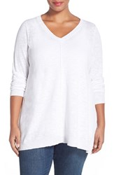 Plus Size Women's Eileen Fisher Organic Linen And Cotton V Neck Knit Tunic White