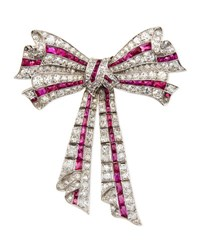 Estate Edwardian Diamond And Ruby Ribbon Bow Pin