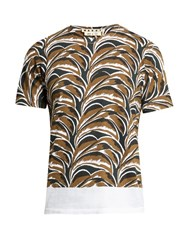 Marni Abstract Leaf Print Round Neck T Shirt White Multi