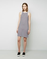 Alexander Wang Striped Rayon Linen Dress Ink Ivory