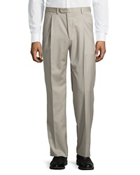 Hickey Freeman Worsted Wool Trousers Taupe