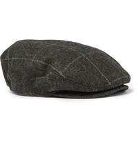 Rrl Checked Wool Flat Cap Charcoal