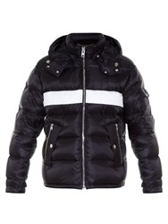 Givenchy Striped Detachable Hood Quilted Jacket Black Multi