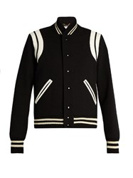 Saint Laurent Leather Trimmed Teddy Jacket Black White