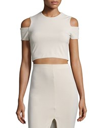 Alice Olivia Vicki Cold Shoulder Crop Top Tan Women's