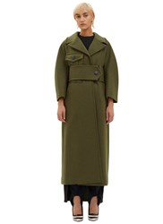 Marni Oversized Long Double Faced Coat Green